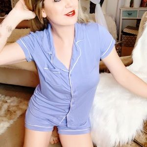 Other - Soft Blue Pajama Set With Short and Button Up